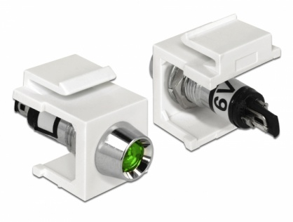Keystone alb cu LED verde 6V, Delock 86448