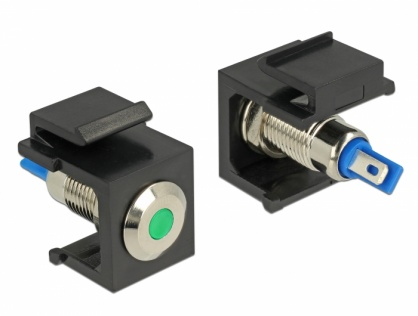 Keystone negru cu LED verde 6V flat, Delock 86463