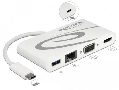 Docking Station USB-C 3.1 la HDMI 4K 30 Hz + VGA + LAN + USB PD, Delock 87731