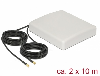 Antena exterioara LTE MIMO 2 x SMA Plug 8 dBi directionala + cablu RG-58 10m, Delock 89891