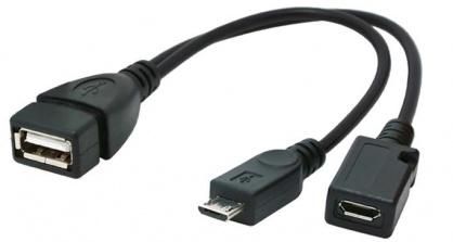 Adaptor USB-A M OTG la 2 x micro USB-B (T + M), Gembird A-OTG-AFBM-04