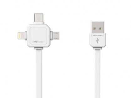 Cablu date si incarcare 3 in 1 (micro USB, USB-C, Lightning) 1.5m Alb, Allocacoc