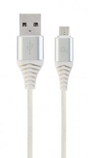 Cablu USB 2.0 la micro USB-B Premium T-T 1m Argintiu/Alb brodat, Gembird CC-USB2B-AMmBM-1M-BW2