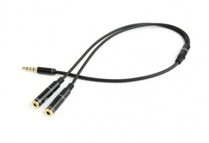 Cablu stereo jack 3.5mm 4 pini la 2 x jack 3.5mm casca + microfon T-M 0.2m, Gembird CCA-417M