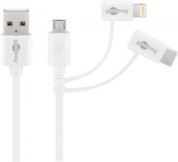 Cablu combo 3 in 1 micro USB cu adaptor USB-C si Lightning MFI 1m Alb, Goobay 45562