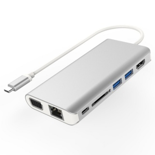 Docking station USB-C la HDMI + VGA + RJ45 + 2 x USB 3.0 + SD card + jack 3.5mm + PD