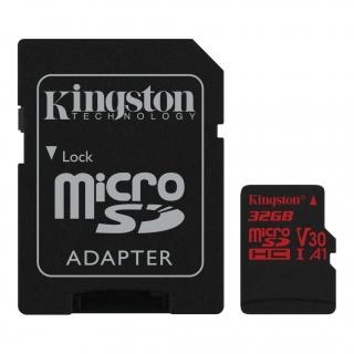 Card de memorie micro SDHC 32GB + adaptor SD Canvas React, Kingston SDCR/32GB