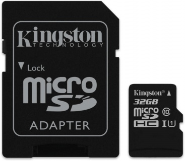 Card de memorie micro SDHC Canvas Select 32GB clasa 10 + adaptor SD, Kingston SDCS/32GB