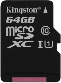 Card de memorie micro SDXC Canvas Select 64GB clasa 10, Kingston SDCS/64GBSP