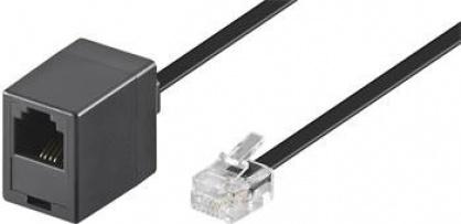 Cablu prelungitor telefon RJ11 6p4c 6m Negru, Goobay 68260