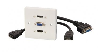 Priza cu 2 x HDMI v1.4 Full HD + 1 x VGA, Lindy L60223