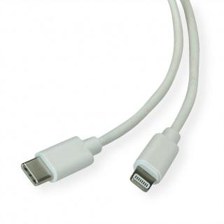 Cablu de date + incarcare USB-C la iPhone Lightning MFI T-T 1m Alb, Roline 11.02.8323
