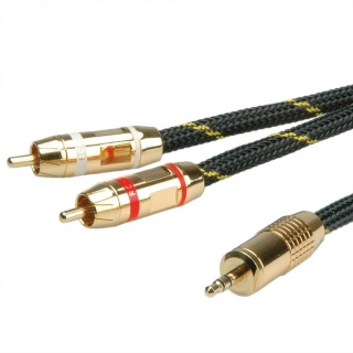 Cablu audio GOLD Jack 3.5mm Stereo la 2 x RCA ecranat T-T 2.5m, Roline 11.09.4273