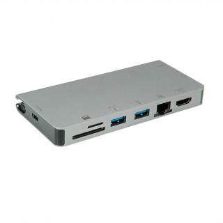 Docking station USB-C la HDMI 4K60Hz/VGA/2 x USB 3.1 Gen 1/LAN/PD/Cititor de carduri, Roline 12.02.1022