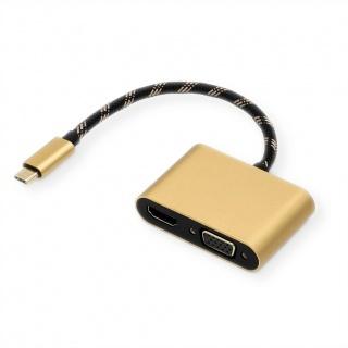Adaptor USB-C la HDMI 4K@60Hz + VGA T-M 0.1m, Roline 12.03.3165