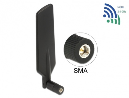 Antena LTE WLAN Dual Band SMA 1 - 4 dBi omnidirectional rotabila, Delock 12408