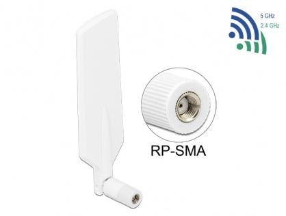 Antena LTE WLAN Dual Band RP-SMA 1 ~ 4 dBi omnidirectional rotabil alb, Delock 12431