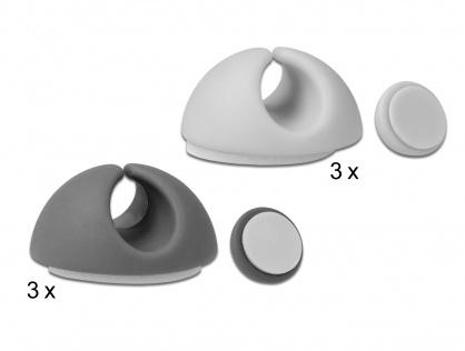 Set 6 bucati ghidaj cablu 3 x alb/3 x Gri, Delock 18291