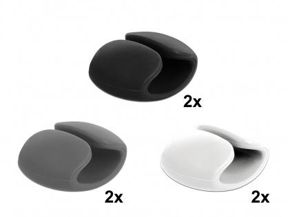 Set 6 buc clips cablu 2 albe/2 gri/2 negre, Delock 18302