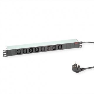 """Prelungitor PDU 19"""" Schuko la IEC C13 Aluminiu 2m, Roline 19.07.1628"""