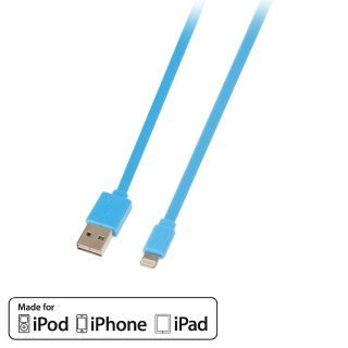 Cablu USB reversibil date + incarcare pentru iPhone 5/6 Lightning MFI 1m Bleu, Lindy L31391