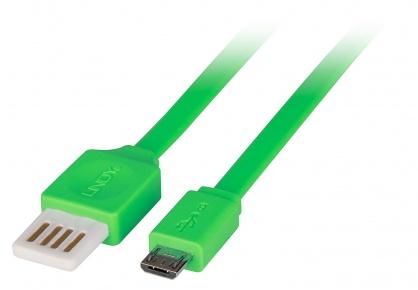 Cablu USB 2.0 la micro USB-B Flat reversibil 1m Verde, Lindy L30916