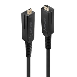 Cablu micro HDMI v2.0 4K60Hz Fibra optica Hybrid HDR - conectori HDMI, DVI detasabili T-T 20m, Lindy L38321