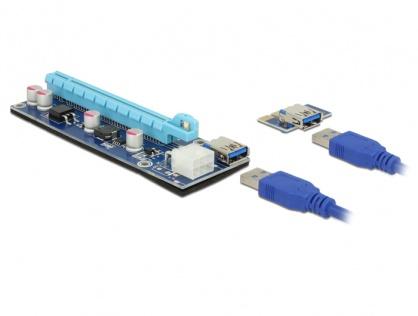 Riser Card mining PCI Express x1 > x16 alimentare PCI Express 6 pini, Delock 41426