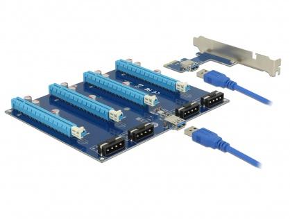 Riser Card PCI Express x1 la 4 x PCIe x16 + cablu USB 60cm, Delock 41427