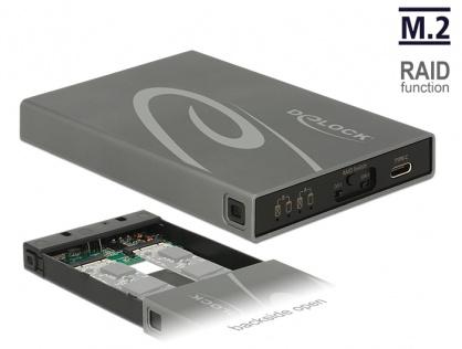 Rack extern 2 x M.2 Key B SSD la USB 3.1 Gen 2 USB-C cu RAID, Delock 42589