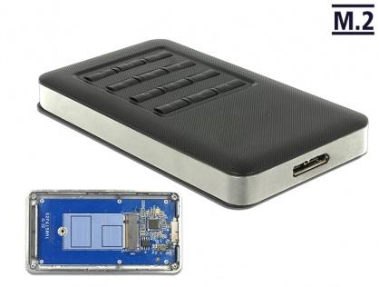 Rack extern M.2 Key B 42 mm SSD la micro USB-B 3.0 cu encryption function, Delock 42594