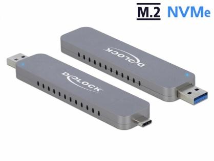 Rack extern USB-C + USB-A la M.2 NVME PCIe SSD, Delock 42616