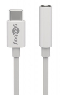 Adaptor audio USB-C la jack 3.5mm T-M Alb 10cm, Goobay 55646