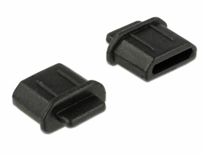Protectie impotriva prafului pentru conector micro HDMI-D Negru set 10 buc, Delock 64031