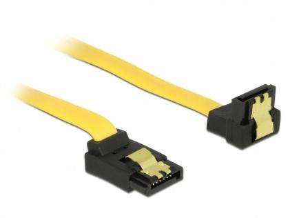 Cablu SATA III 6 Gb/s unghi sus-jos cu fixare 50cm, Delock 82821
