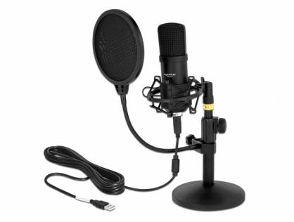 Microfon profesional USB pentru podcasting si jocuri, Delock 66300