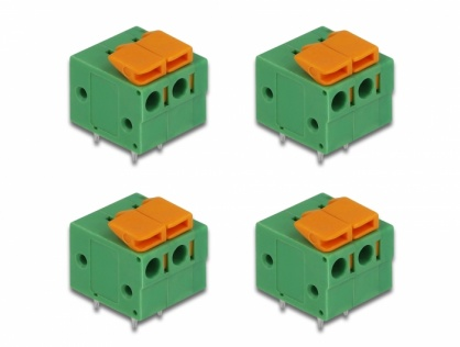 Set 4 buc bloc terminal pentru PCB 2 pini 5.08 mm pitch orizontal, Delock 66274