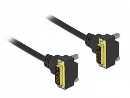 Cablu DVI-D Dual Link 24+1 pini unghi 90 grade T-T 2m Negru, Delock 85898