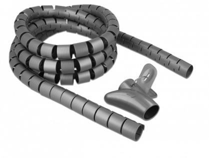 Organizator cabluri spiralat 2.5m x 30mm Gri, Delock 18846