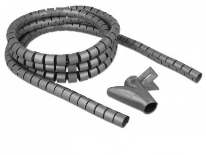 Organizator cabluri spiralat 2.5m x 20mm Gri, Delock 18844