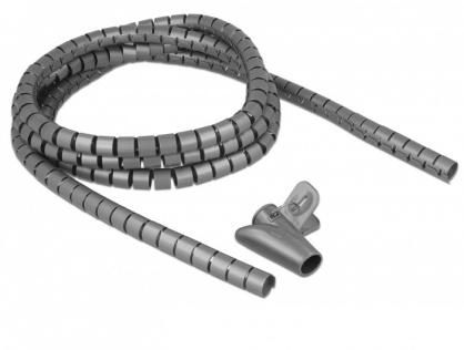 Organizator cabluri spiralat 2.5m x 15mm Gri, Delock 18843