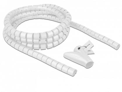Organizator cabluri spiralat 2.5m x 20mm Alb, Delock 18840
