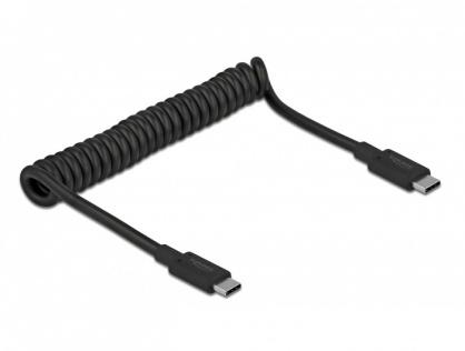 Cablu USB 3.1-C la tip C 3A E-Marker T-T spiralat 30-120cm Negru, Delock 85350