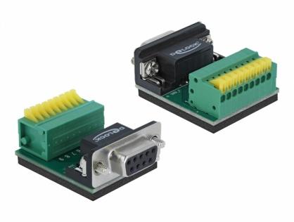 Bloc terminal 9 pini la serial DB9 RS232 mama cu Push Button, Delock 66322