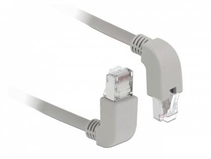 Cablu de retea RJ45 cat 6 S/FTP LSOH unghi jos/unghi sus 2m Gri, Delock 85863