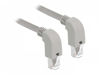 Cablu de retea RJ45 cat 6 S/FTP LSOH unghi jos 2m Gri, Delock 85869