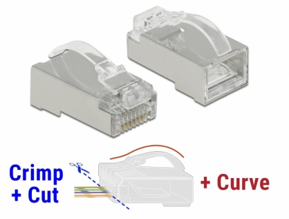 Set 20 buc conector RJ45 Cat.6 STP Crimp+Cut+Curve, Delock 86474