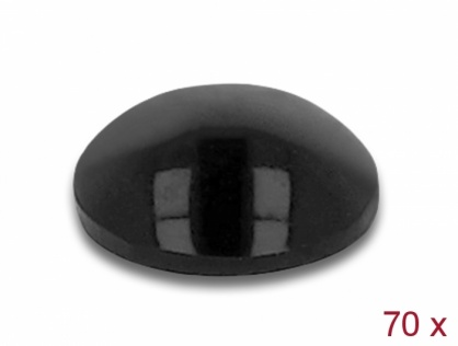 Set 70 buc picioruse negre cu banda adeziva 8 x 3 mm Negru, Delock 18308