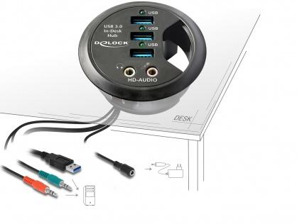 Hub 3 Porturi USB 3.0 + porturi audio, Delock 61990