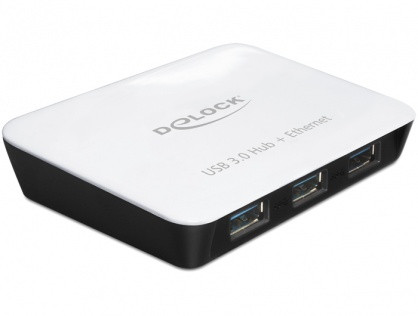 Hub USB 3.0 3 Porturi + 1 Port Gigabit LAN 10/100/1000, Delock 62431